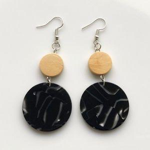 "NEW ""Terra"" Acrylic Wooden Round Earrings (Black)"